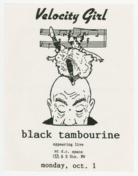 Velocity Girl and Black Tambourine concert flier, D.C. Space, Washington, D.C., October 1, 1990