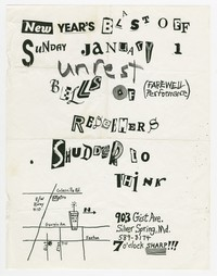Unrest, Bells of, Redeemers, Shudder to Think concert flier, house show, Silver Spring, Maryland, January 1, 1989