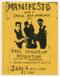 Manifesto and Thee Evolution Revolution concert flier, d.c Space, Washington D.C., January 4, 1989