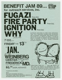 Fugazi, Fire Party, Ignition, Why concert flier, Weinberg Center, Frederick, Maryland, January 13, 1989