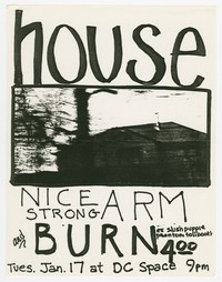 House, Nice Strong Arm, Burn concert flier, d.c. Space, Washington, D.C., January 17, 1989