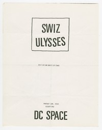 Swiz and Ulysses concert flier - d.c. Space, Washington, D.C., January 23, 1989