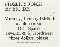 Fidelity Jones and the Big Dis concert flier, Washington, D.C., January 30, 1989