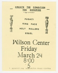 Fugazi, King Face, Holy Rollers, and Edsel concert flier, Wilson Center, Washington, D.C., March 24, 1989