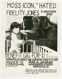 Moss Icon, the Hated, Fidelity Jones concert flier, Baldwin Hall, Annapolis, Maryland, March 31, 1989