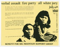 Verbal Assault, Fire Party, and All White Jury concert flier, Wilson Center, Washington, D.C., July 13, 1989