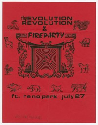 Thee Evolution Revolution and Fire Party concert flier, Fort Reno Park, Washington, D.C., July 27,1989