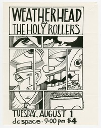 Weatherhead and Holy Rollers concert flier, d.c. Space, Washington, D.C., August 1, 1989