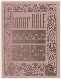 Honor Role and Holy Rollers concert flier, d.c. Space, Washington, D.C., January 21, 1989