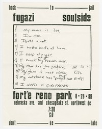 Fugazi and Soulside concert flier, Fort Reno Park, Washington, D.C., August 28, 1989