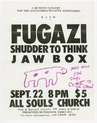 Fugazi, Shudder to Think, and Jawbox concert flier, Pierce Hall, Washington, D.C., September 22, 1989