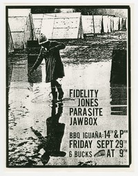 Fidelity Jones, Parasite, and Jawbox concert flier, BBQ Iguana, Washington, D.C. September 29, 1989
