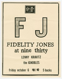 Fidelity Jones, Lenny Kravitz and Ignobles concert flier, 9:30 Club, Washington, D.C., October 6, 1989