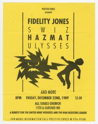 Fidelity Jones, Swiz, Hazmat and Ulysses concert flier, All Souls Church, Washington, D.C., December 22, 1989