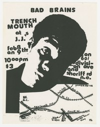 Bad Brains and Trenchmouth concert flier - JJ's, Washington, D.C., February 8-9, 1980