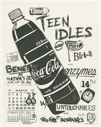 Advertising flier for Teen Idles, Bad Brains, Enzymes, Untouchables, Tru Fax and the Insaniacs concerts - Madam's Organ, Washington, D.C., March 14-15, 1980
