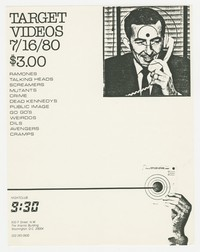 Flier for Target Video screening - 9:30 Club, Washington, D.C., July 6, 1980