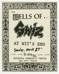 Bells Of, Swiz, and At Wit's End concert flier, Bethesda Community Center, Bethesda, Maryland, March 27, 1988.