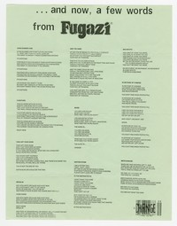 Fugazi lyric sheet, July 1988