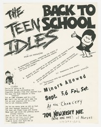 Teen Idles and Nurses concert flier - The Chancery, Washington, D.C., September 5 and 6, 1980