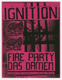 Ignition, Fire Party and Das Damen concert flier, 9:30 Club, Washington, D.C., August 4, 1988