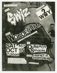 Swiz, Wonderama and Why? concert flier, Outreach Services, Frederick, Maryland, October 15, 1988