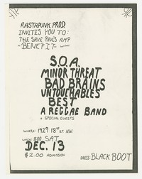 Concert flier for State of Alert, Minor Threat, Bad Brains, Untouchables concert - Washington, D.C., December 1980.