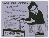 King Face, False Prophets, Fugazi, Fidelity Jones concert flier, Wilson Center, Washington, D.C., March 3, 1988