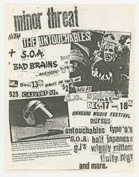 Minor Threat and Untouchables concert flier, Washington, D.C., December 1980