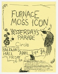 Furnace, Moss Icon, Yesterday's Parade and Circle concert flier, Baldwin Hall, Annapolis, Maryland, April 29, 1988
