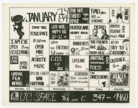 D.C. Space calendar with BMO (Bloody Mannequin Orchestra), Hate From Ignorance, Washington, D.C., January 1984