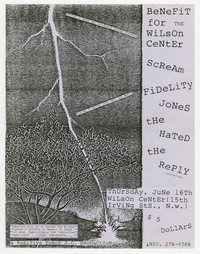 Scream, Fidelity Jones, the Hated and the Reply concert flier, Wilson Center, Washington, D.C., June 16, 1988