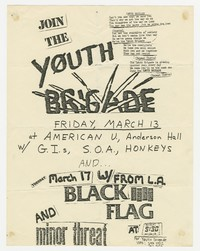 Youth Brigade, GIs, State of Alert, Black Flag, and Minor Threat concert flier - Washington, D.C., March 1981