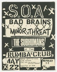 State of Alert, Bad Brains, Minor Threat, and The Subhumans concert flier - Rumba Club, Washington, D.C., May 22, 1981