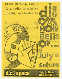 Dig Dat Hole and Bells Of concert flier, d.c. Space, Washington, D.C., July 16, 1988