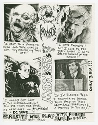 Parasite and Fugazi concert flier, d.c. Space, Washington, D.C., August 1, 1988