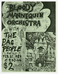 Bloody Mannequin Orchestra concert flier, 9:30 Club, Washington, D.C., February 1984 (Design 3)