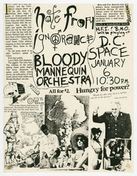 Hate From Ignorance, Bloody Mannequin Orchestra concert flier, DC Space, Washington, D.C., January 6, 1984 (Design 2)