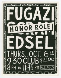 Fugazi, Honor Role, Edsel concert flier, 9:30 Club, Washington, D.C., October 6, 1988