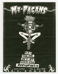 Mo-Pagans concert flier, d.c. Space, Washington, D.C., October 27, 1988