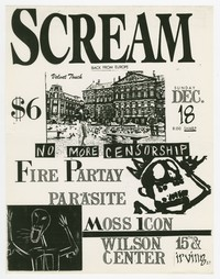 Scream, Fire Party, Parasite, and Moss Icon concert flier, Wilson Center, Washington, D.C., December 18, 1988