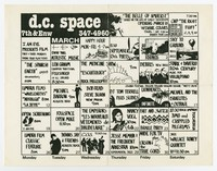 D.C. Space calendar with BMO (Bloody Mannequin Orchestra), Crippled Pilgrims, Washington, D.C., March 1984