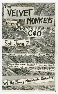 Velvet Monkeys and Bloody Mannequin Orchestra concert flier, C&O, Charlottesville, VA, June 2, 1984