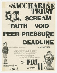 Saccharine Trust and Government Issue concert flier - Falls Church, Virginia, December 1981
