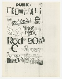 Bad Brains, Government Issue, and Minor Threat concert flier, Wilson Center, Washington, D.C., April 4, 1981
