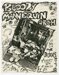 Bloody Mannequin Orchestra, The Dickies, and The Snakes concert flier, 9:30 Club, Washington, D.C., August 16, 1984