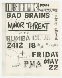 The Subhumans, Bad Brains, and Minor Threat concert flier, Washington, D.C., May 22, 1981