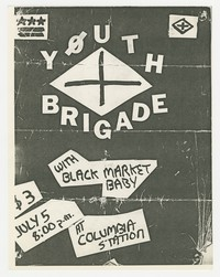 Youth Brigade and Black Market Baby concert flier, Washington, D.C., July 5, 1981
