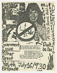 Government Issue, Minor Threat, and Youth Brigade concert flier, Washington, D.C., 9:30 Club, July 16, 1981