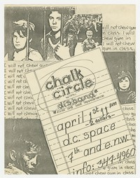 Chalk Circle and Disband flier, Washington, D.C., DC Space, April 1, 1982
